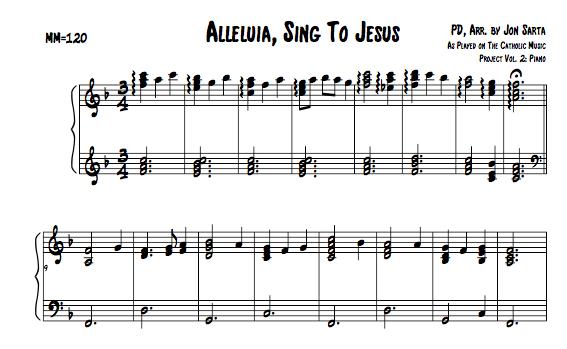 Catholic Sheet Music, Alleluia, Sing to Jesus